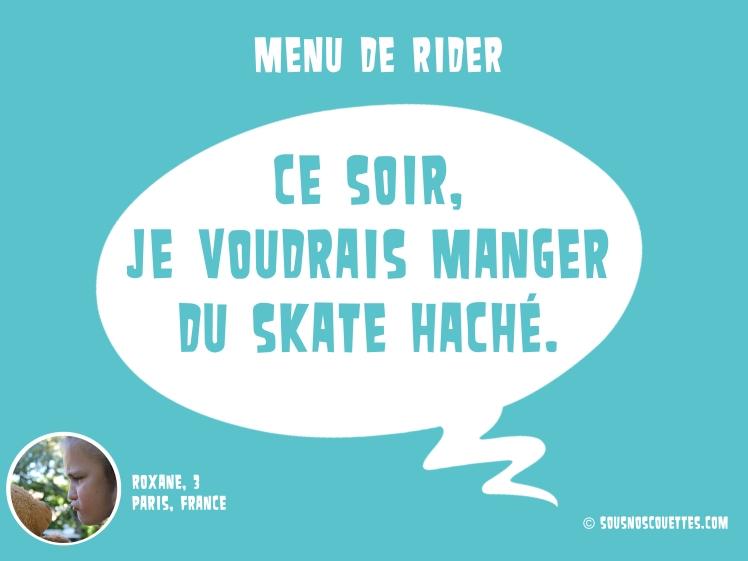 menu de rider